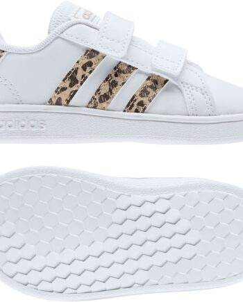 adidas infants grand court leopard trainers white p  zoom
